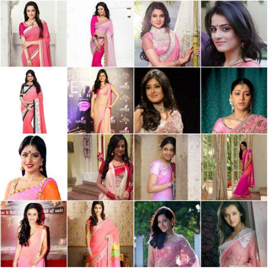 TV Actresses In Pink Saree