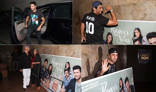 Bollywood celebrities at the screening of Bollywood film Kapoor and Sons