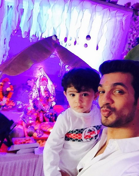 Arjun Bijlani With His Son Ayaan On Ganesh Chaturthi