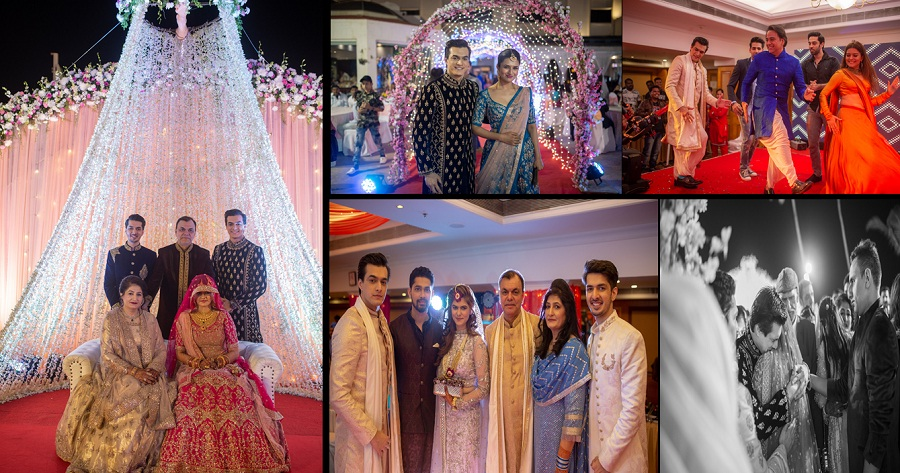 With Glitz Glamour Fun Dance And Emotions Galore Mohsin Khan S Sisters Wedding Was A Rocking Affair The Wedding Album Fuzion Productions Her marriage picture has surfaced where we can see her looking great in an onion pink sharara that has pearls and sequins on the borders. with glitz glamour fun dance and